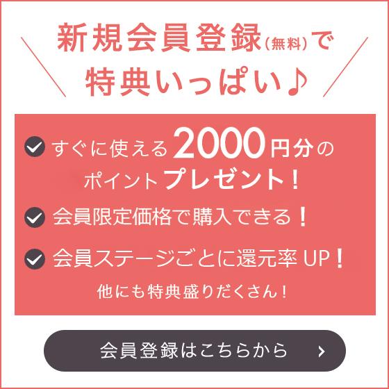 新規会員登録特典!!すぐに使える2,000円分のポイントプレゼント !!